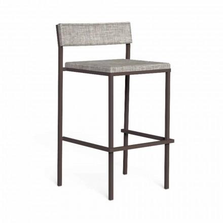 Luksusowy stołek barowy na zewnątrz ze stali i tkaniny - Casilda firmy Talenti