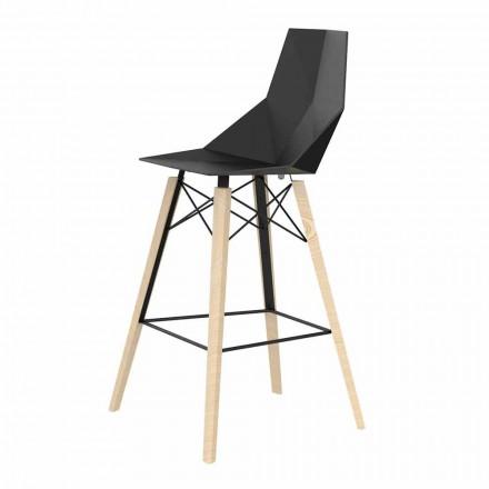 Wewnętrzny stołek barowy z drewna i plastiku Różne kolory - Faz Wood firmy Vondom