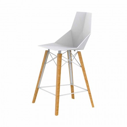 Zaprojektuj stołek kuchenny z drewna i plastiku w różnych kolorach - Faz Wood firmy Vondom