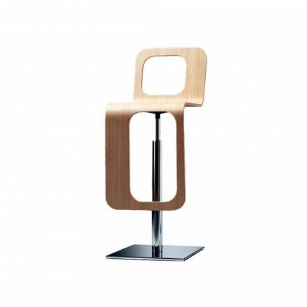 Nowoczesny stołek kuchenny z drewna dębowego i metalu - Signorotto