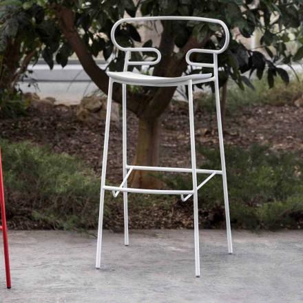 Taboret ogrodowy z malowanego metalu i poliuretanu Made in Italy - Trosa
