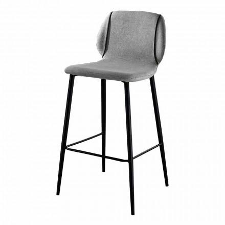 Zaprojektuj stołek do salonu z tkaniny z krawędzią i antracytowym metalem - Scarat