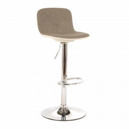 Designerski stołek z podnośnikiem gazowym z tkaniny i chromowanego metalu, 2 sztuki - chrom