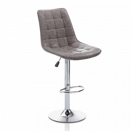 Designerski stołek z siedziskiem ze sztucznej skóry i chromowaną strukturą, 2 sztuki - Chiotta