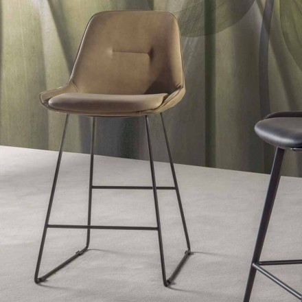 Taboret o nowoczesnym designie z malowanymi metalowymi saniami - Ines