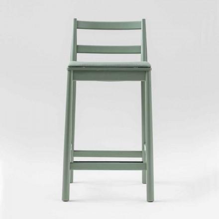 Luksusowy stołek z litego buku z siedziskiem z tkaniny Made in Italy - Nora