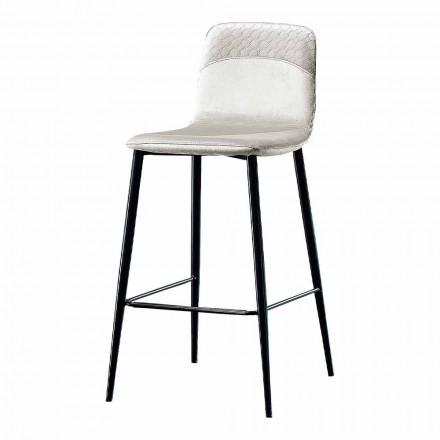 Elegancki, nowoczesny stołek z kolorowego aksamitu i metalu - Bizet