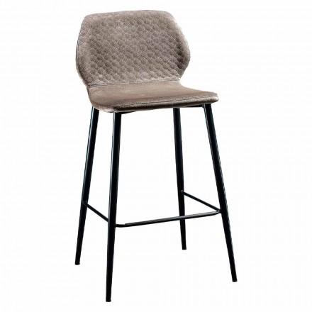 Elegancki stołek z kolorowego pikowanego aksamitu i antracytowego metalu - Scarat