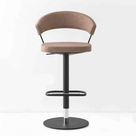 Obrotowy stołek tapicerowany sztuczną skórą i metalem w stylu vintage Made in Italy - New York