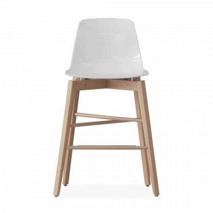 Taboret z drewna dębowego i siedziska lakierowanego na biało o nowoczesnym designie - Langoustine