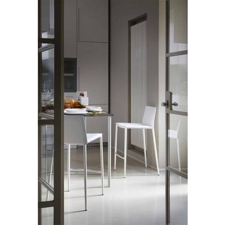 Nowoczesny stołek barowy lub kuchenny z metalu i skóry klejonej - Boheme