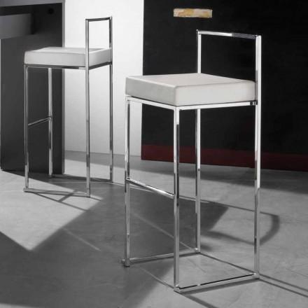 Nowoczesny stały stołek z ekoskóry, z podnóżkiem - Alina