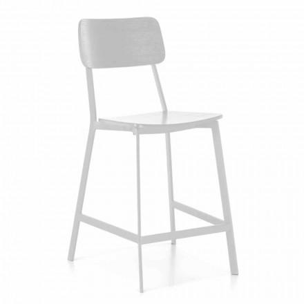 Nowoczesny stołek metalowy z siedziskiem i oparciem z drewna, 2 sztuki - Habibi