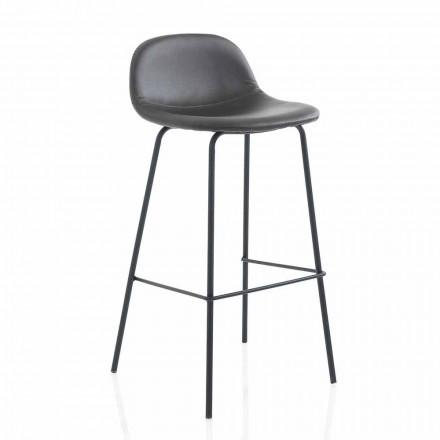 Nowoczesny stołek z imitacji skóry lub tkaniny z metalowymi nogami, 2 sztuki - Billo
