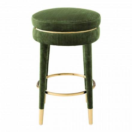 Nowoczesny stołek pokryty tkaniną z detalami w mosiężnym wykończeniu - Belluno