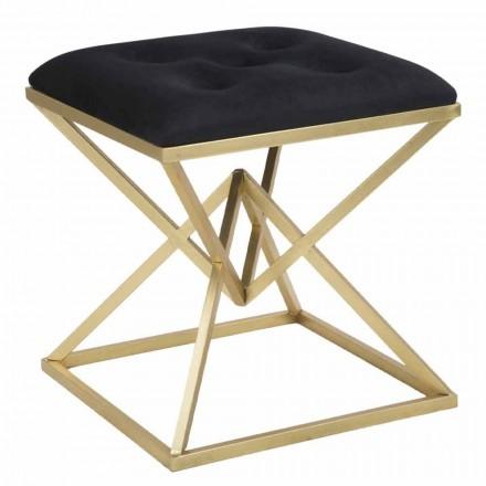 Nowoczesny kwadratowy stołek z żelaza i tkaniny - galaretka