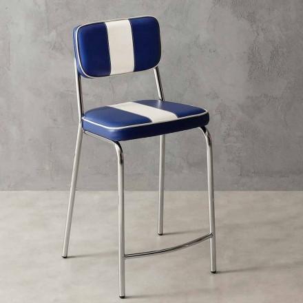 Krzesło hoker z lat '50 z sztucznej skóry z białym paskiem model Banda