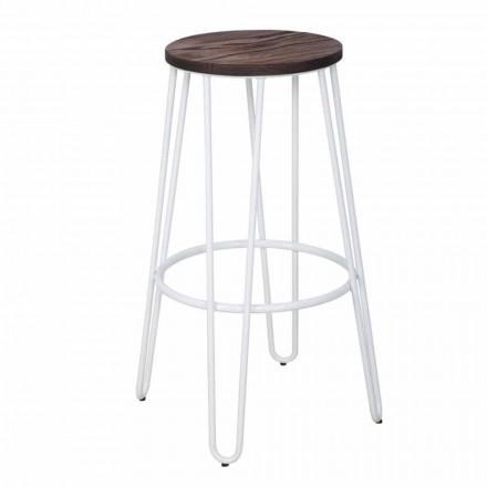 Taboret w stylu industrialnym o nowoczesnym designie z drewna i żelaza, 2 sztuki - Belia