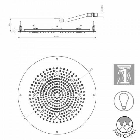 Nowoczesna okrągła kabina prysznicowa głowica prysznicowa do strumienia z LED świeci Bossini