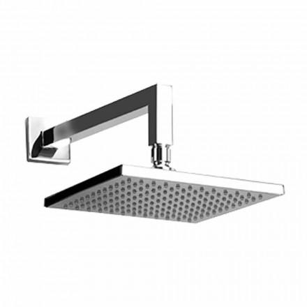 Kwadratowa stalowa głowica prysznicowa z mosiężnym ramieniem prysznicowym Made in Italy - Sespo