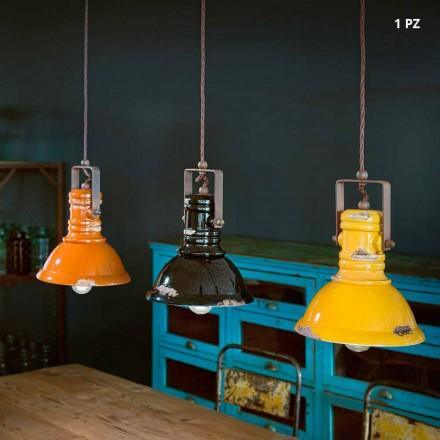 Lampa wisząca dzwon z ceramiki i metalu model Ruth
