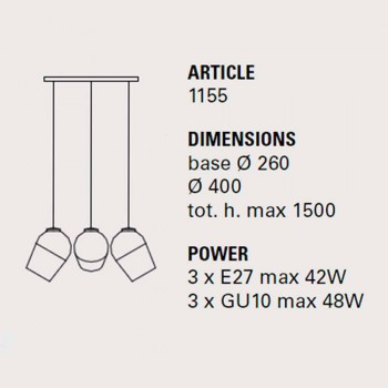 Lampa wisząca z trzema metalowymi magnesami - lampy Toscot