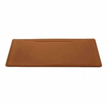 Made in Italy Podkładka na biurko ze skóry regenerowanej z zatrzaskiem Pen - szwy Ebe
