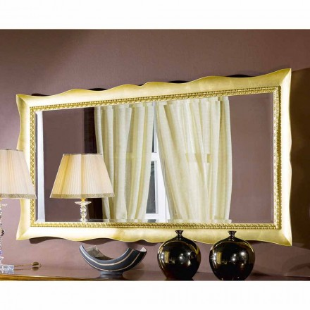 Ręcznie robione lustro ścienne w złotym / srebrnym drewnie, wyprodukowane we Włoszech, Luigi