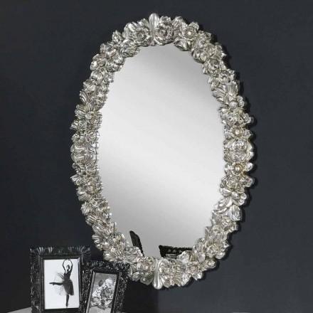 Nowoczesne lustro ścienne z drewna jodłowego, całkowicie ręcznie wykonane we Włoszech, Filippo