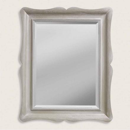 Nowoczesne lustro na ścianę z drewna, produkowane we Włoszech, Angelo
