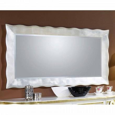 Ręcznie robione prostokątne lustro ścienne z drewna, produkowane we Włoszech, Simone
