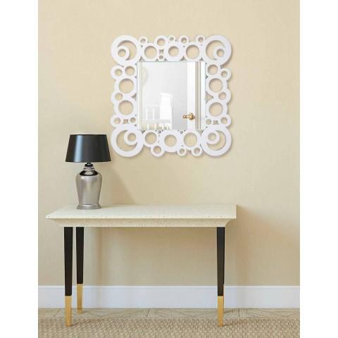 Białe Kwadratowe Lustro Ścienne Nowoczesny Design z Drewnianymi Dekoracjami - Bubble