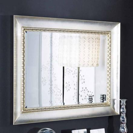 Prostokątne lustro ścienne w drewnie, ręcznie robione we Włoszech, Igor