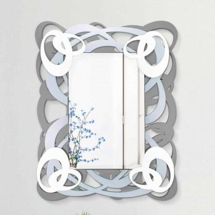 Nowoczesne prostokątne kolorowe lustro ścienne z drewna - Amalga