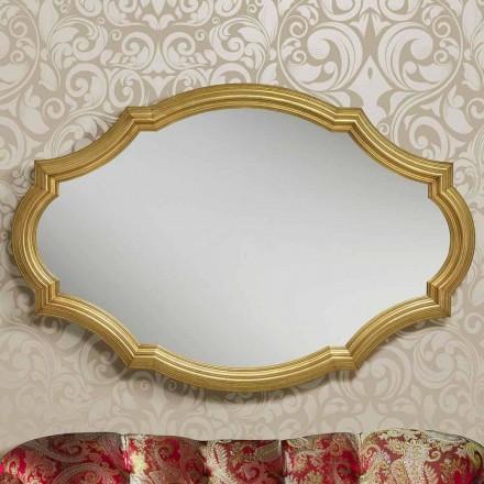 Nowoczesne srebrno-złote lustro ścienne wykonane z drewna, produkowane we Włoszech Davide