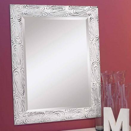 Złote, białe, srebrne lustro ścienne w drewnie, Eugenio, produkowane we Włoszech