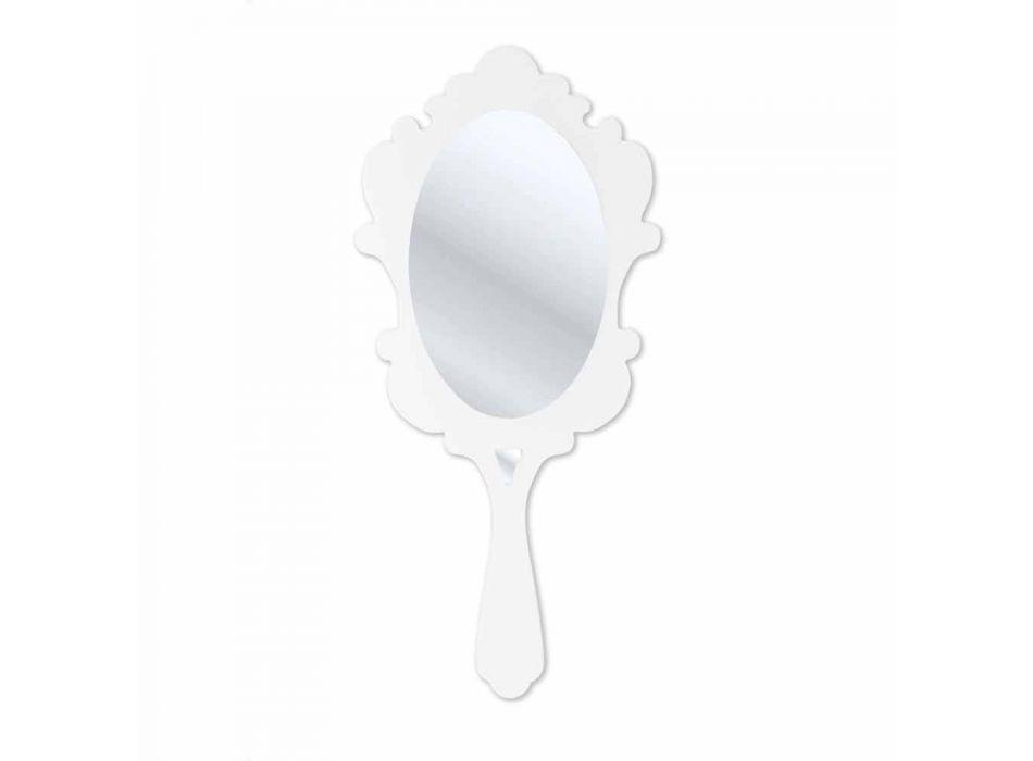 Białe lustro ścienne z dekorowaną ramą Śnieg wykonany we Włoszech