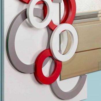 Białe, czerwono-szare, drewniane lustro ścienne - Illusion