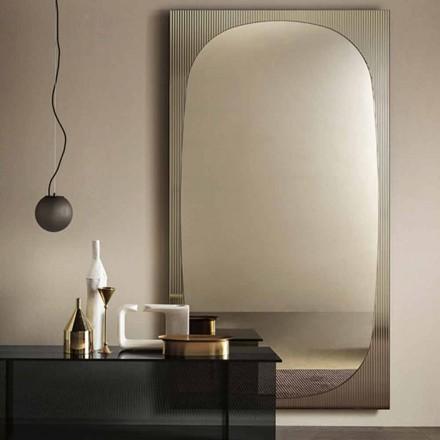 Nowoczesne lustro ścienne z brązowym lustrem Made in Italy - Bandolero