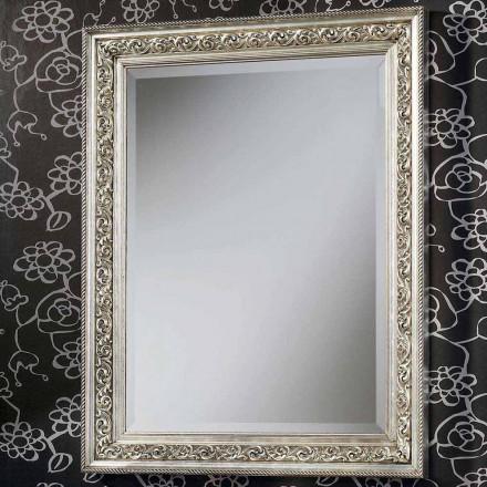 Nowoczesne lustro ścienne z drewna, całkowicie ręcznie wykonane we Włoszech, Piero