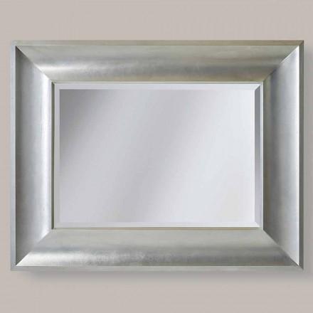Złoto / srebro lustro ścienne w ayous drewna, wykonane we Włoszech, Silvio