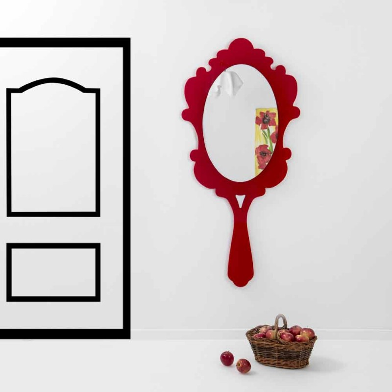 Czerwone lustro ścienne z dekorowaną ramą Śnieg wykonany we Włoszech