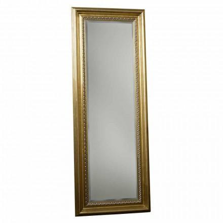 Drewniane lustro podłogowe z postumentem, ręcznie robione we Włoszech, Leonardo