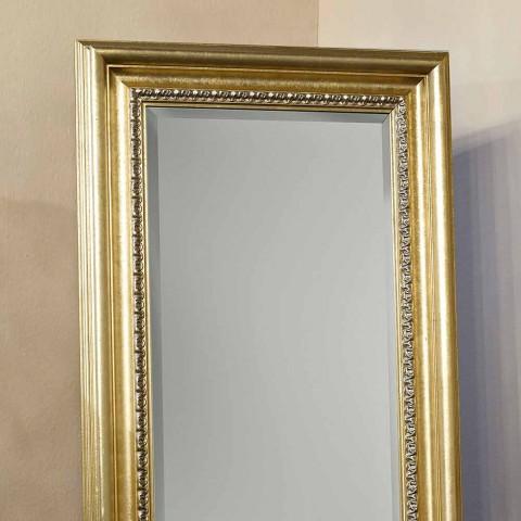 Drewniane lustro podłogowe z ręcznie wykonanym cokołem wykonane we Włoszech Leonardo