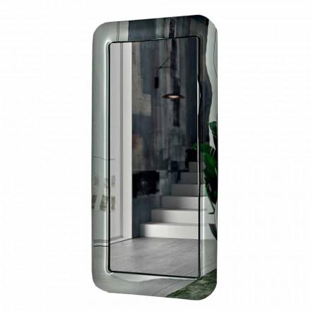 Długie prostokątne lustro z kryształową ramą Made in Italy - Loop