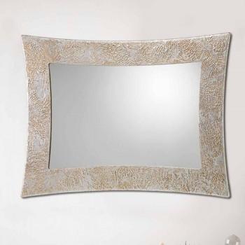 Lustro ścienne z żywicy i srebrnego liścia Wenecji