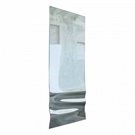 Duże lustro z falistym kryształowym wykończeniem Made in Italy - Athena