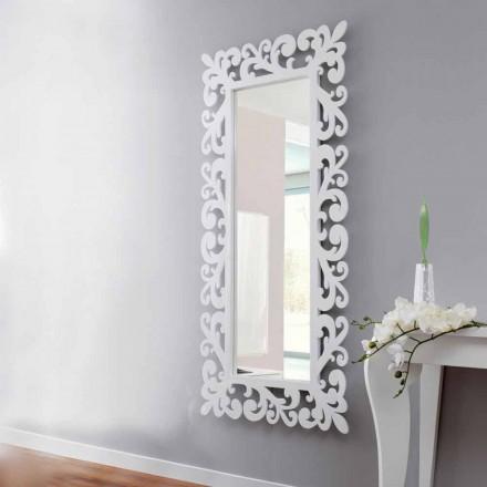Duże prostokątne lustro ścienne z nowoczesnego białego drewna - Cortese