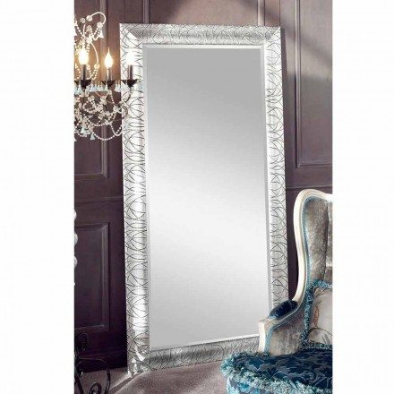 Prostokątne lustro ścienne z drewna jodłowego, produkowane we Włoszech, Achille