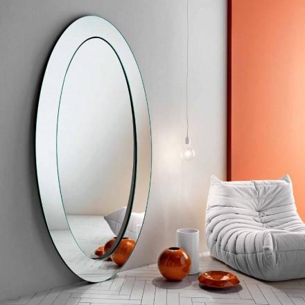 Nowoczesne owalne lustro wolnostojące z pochyłą ramą Made in Italy - Salamina